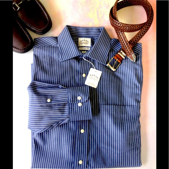 Ike Behar Blue Stripe 100/% Cotton Dress Shirt Non-Iron 15.5 34